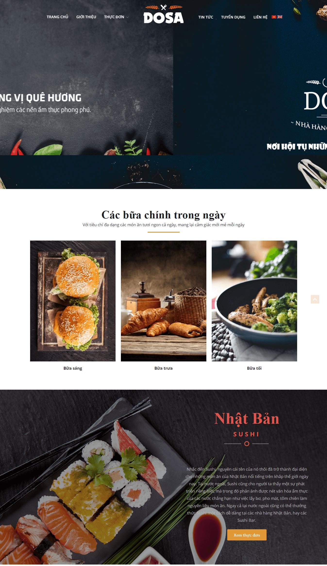 Website nhà hàng độc đáo