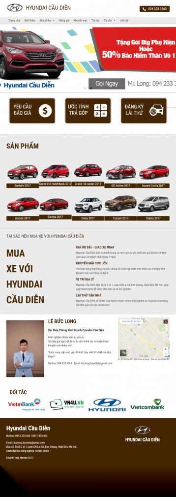 Website bán ô tô hyundai