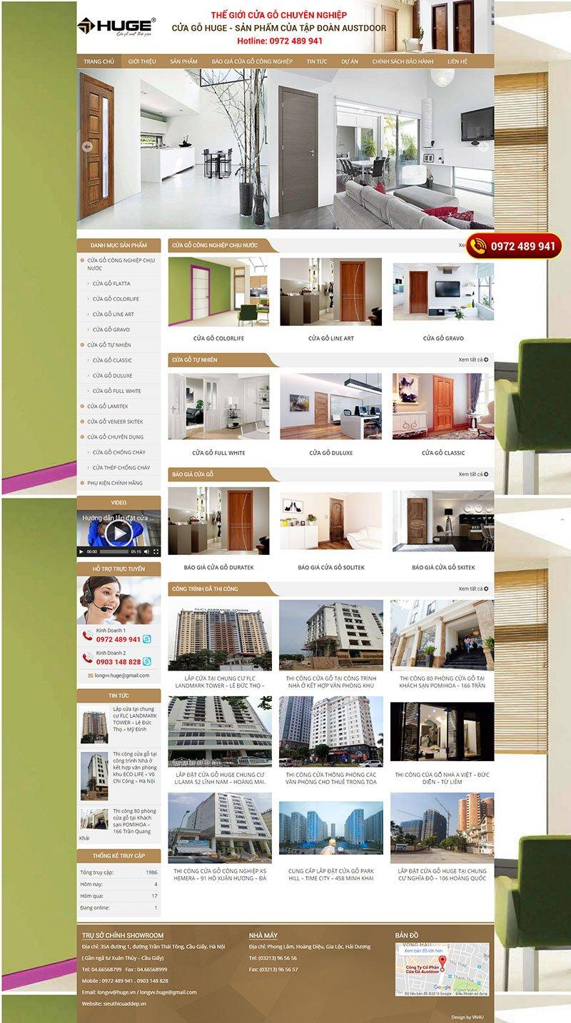 Mẫu website bán cửa gỗ