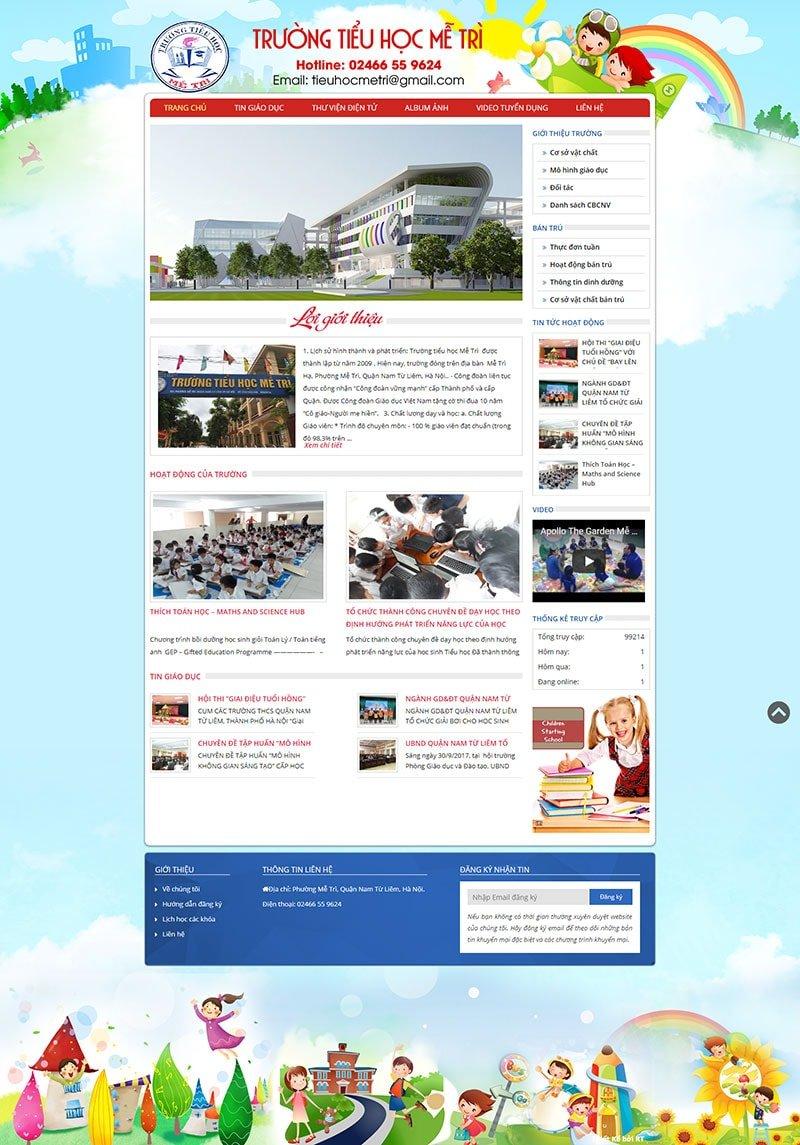 Mẫu website giáo dục trường tiểu học