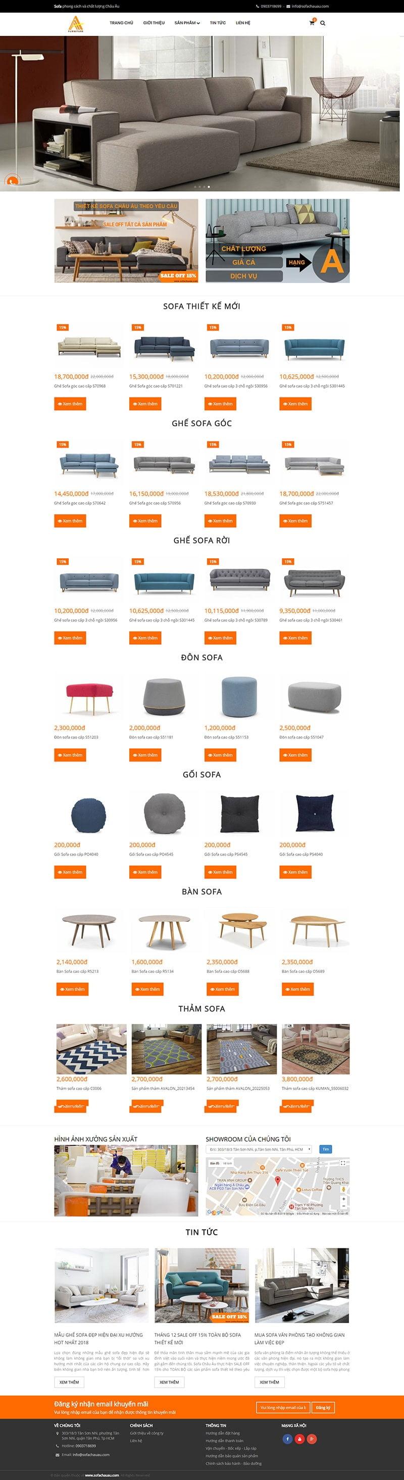Mẫu website bán hàng sofa-ghế-bàn