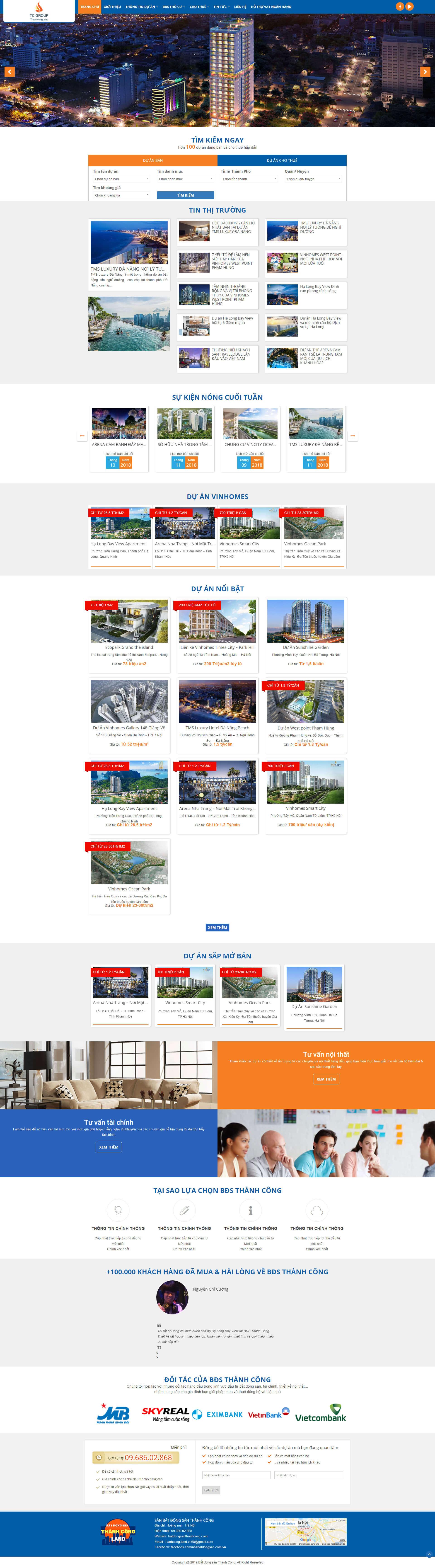 Mẫu website bất động sản cho nhiều dự án 2