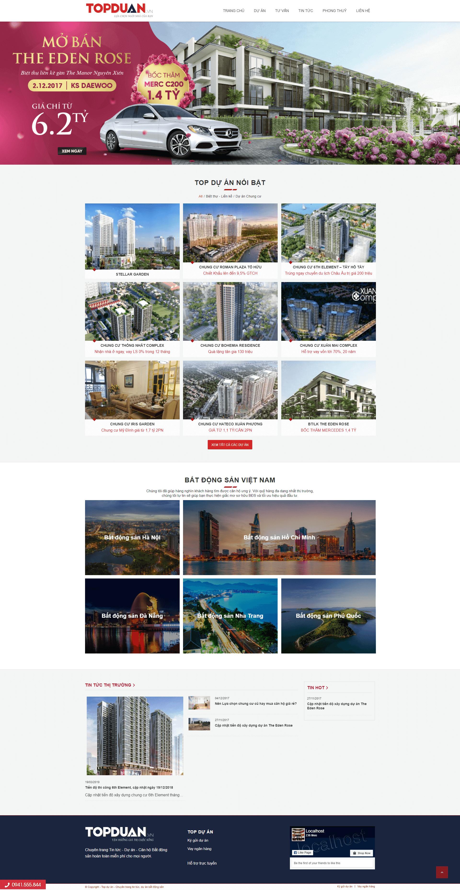 Mẫu website bất động sản cho nhiều dự án