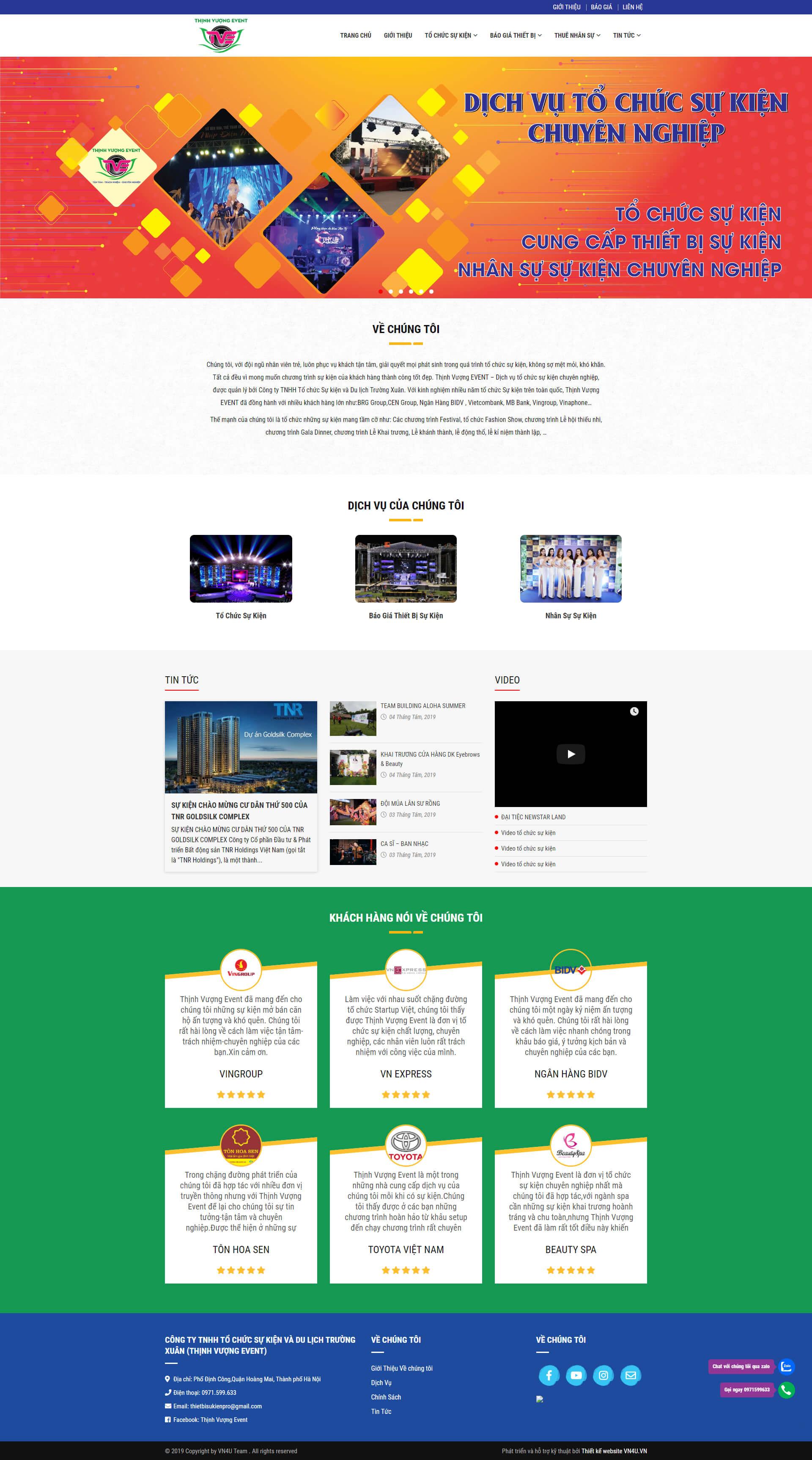 Mẫu website tổ chức sự kiện 01