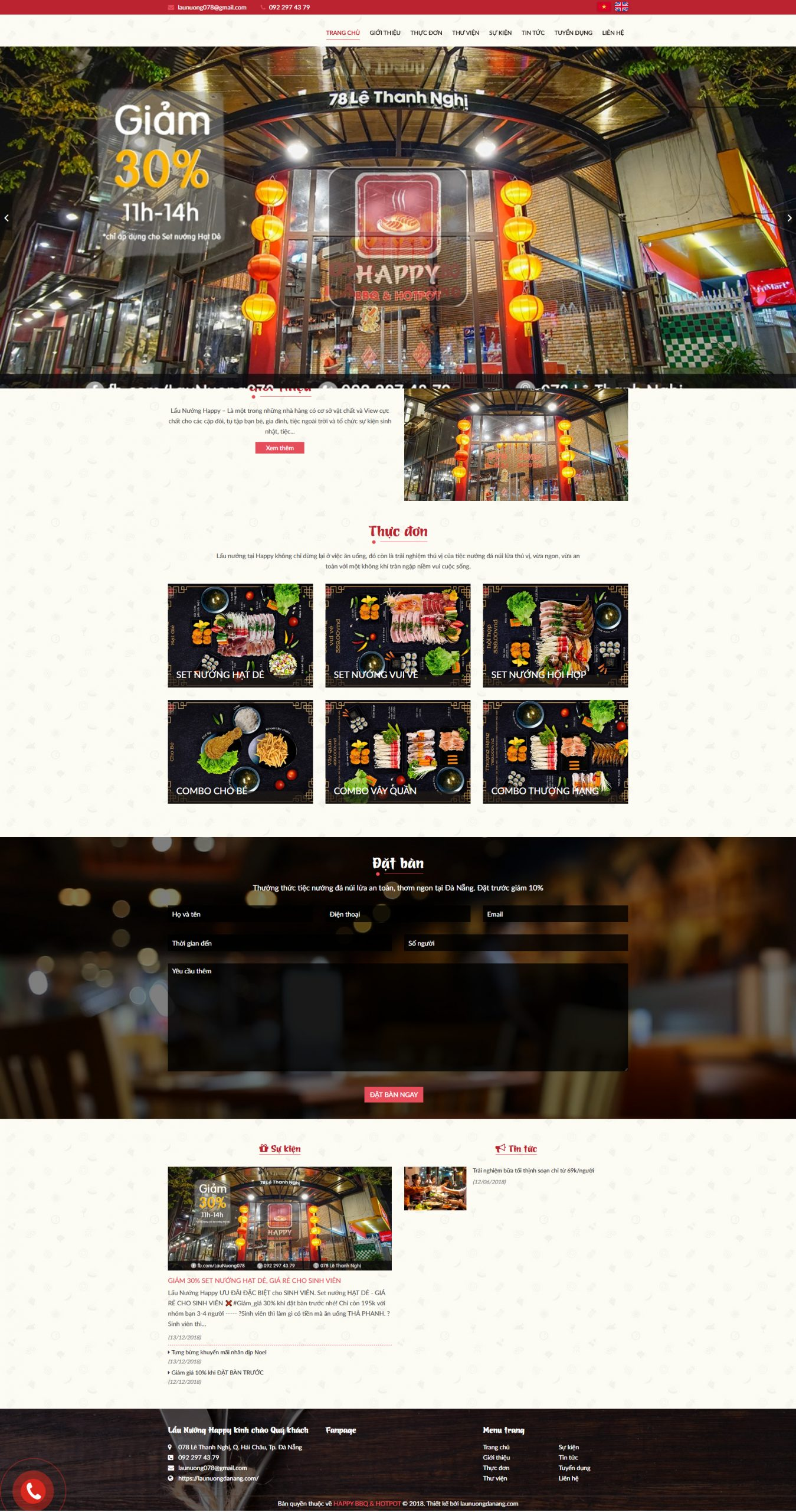 Mẫu website nhà hàng lẩu nướng ở đà nẵng