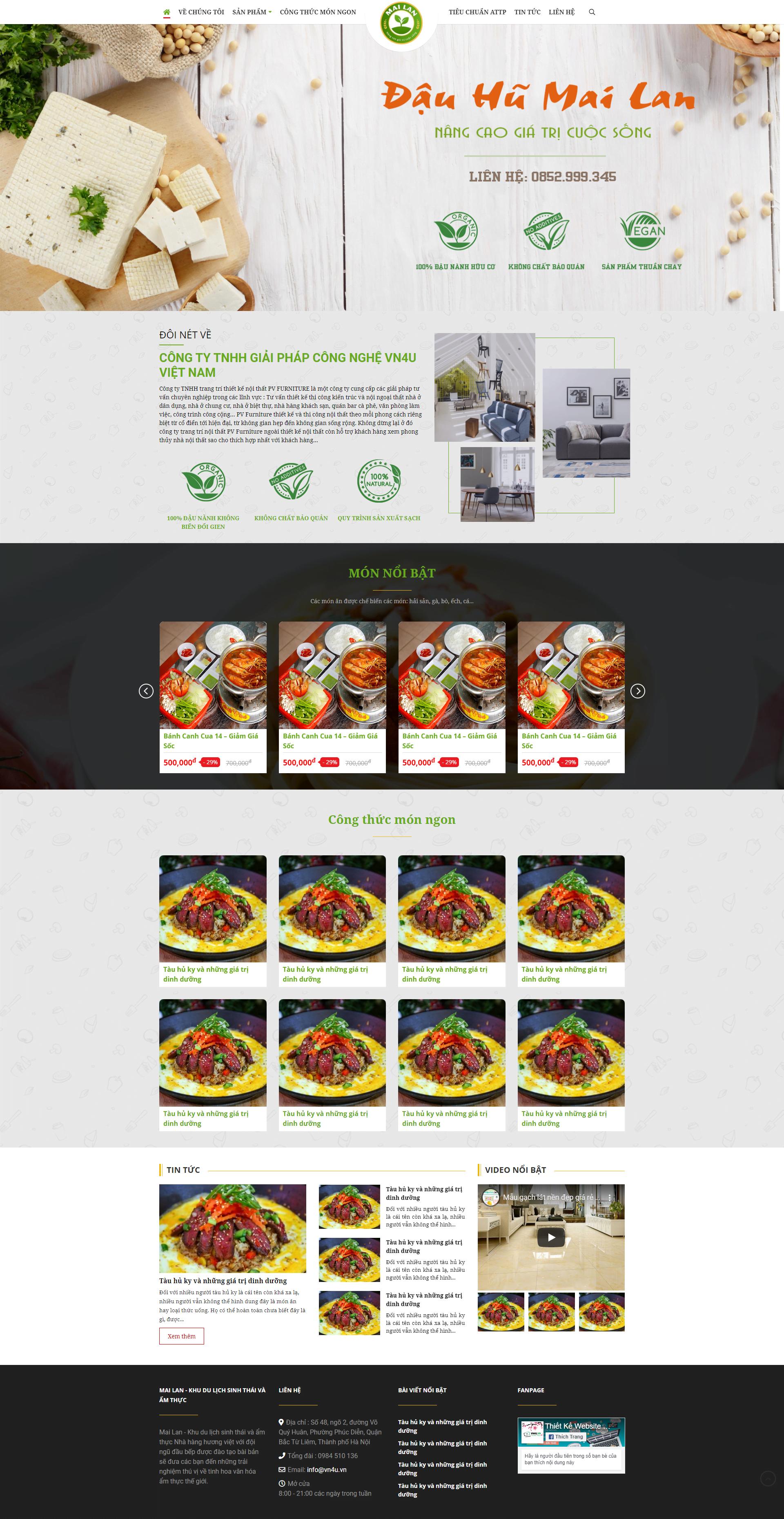 Mẫu thiết kế website nhà hàng Mai Lan